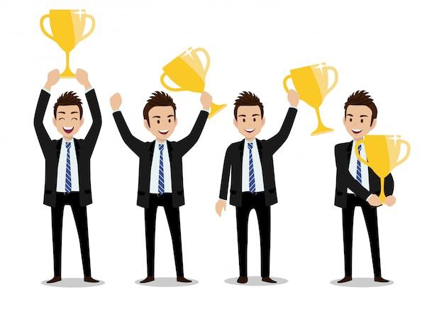 Personaggio dei cartoni animati dell'uomo d'affari, concetto del vincitore di affari con un insieme di quattro pose e trofei dell'oro.