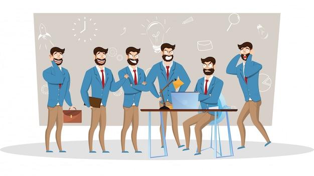 Personaggio dei cartoni animati dell'uomo d'affari in diverse pose di lavoro.