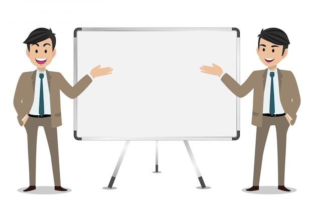Personaggio dei cartoni animati dell'uomo d'affari, un insieme di due pose