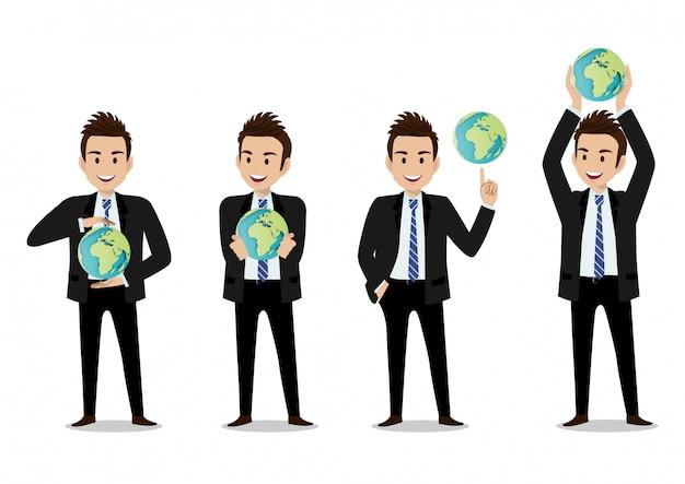 Personaggio dei cartoni animati dell'uomo d'affari, un insieme di quattro pose. bell'uomo d'affari in ufficio stile smart suit
