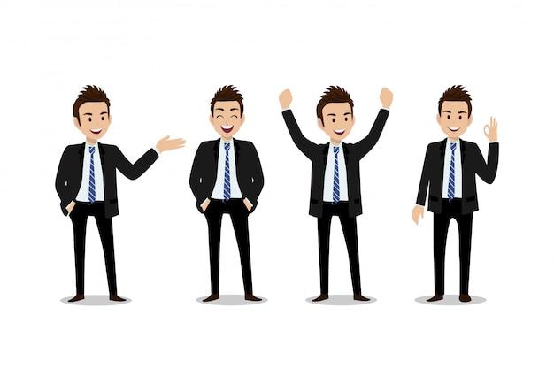 Personaggio dei cartoni animati dell'uomo d'affari, un insieme di quattro pose. bell'uomo in tuta intelligente stile ufficio
