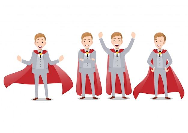 Personaggio dei cartoni animati dell'uomo d'affari, un insieme di quattro pose. uomo d'affari bello in tuta intelligente. illustrazione vettoriale