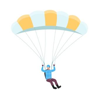 Personaggio dei cartoni animati dell'uomo del paracadutista che salta l'illustrazione piana di vettore isolata.