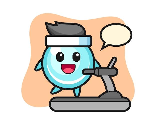 Personaggio dei cartoni animati della bolla che cammina sul tapis roulant, design in stile carino