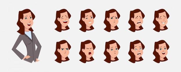 Personaggio dei cartoni animati della donna di affari con varie emozioni facciali e sincronizzazione del labbro. personaggio per animazioni personalizzate.