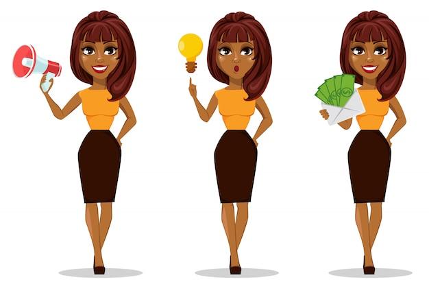 Personaggio dei cartoni animati della donna di affari dell'afroamericano