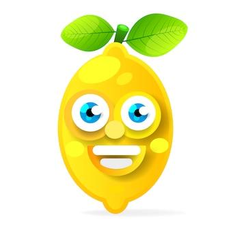 Personaggio dei cartoni animati della frutta del limone isolato su fondo bianco