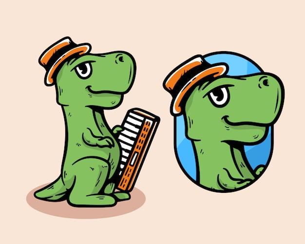 Personaggio dei cartoni animati della mascotte della tastiera della tenuta del dinosauro