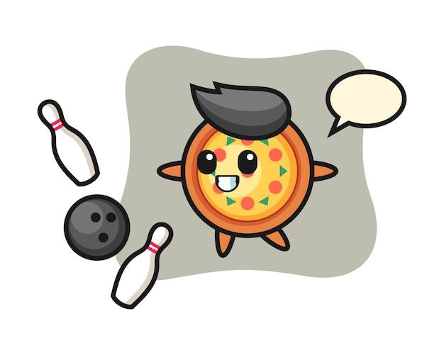 Personaggio dei cartoni animati della pizza sta giocando a bowling