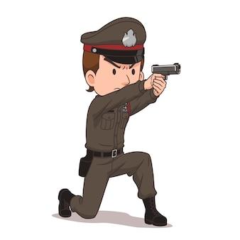 Personaggio dei cartoni animati della polizia tailandese che punta una pistola.