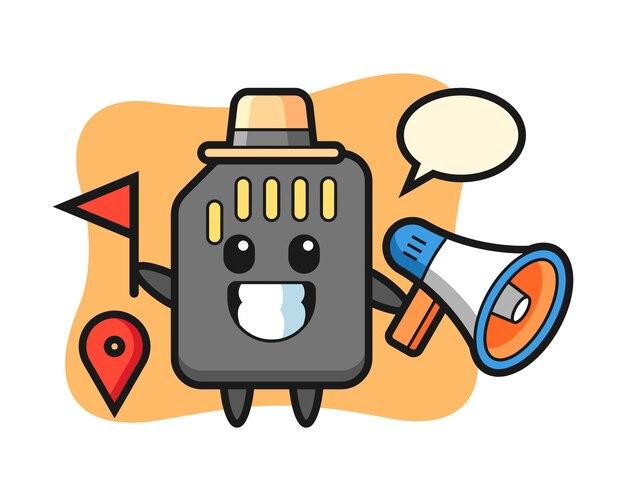 Personaggio dei cartoni animati della scheda sd come guida turistica, design in stile carino per maglietta