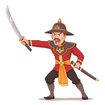 Personaggio dei cartoni animati della spada antica tailandese della holding del guerriero.