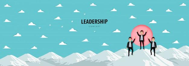 Personaggio dei cartoni animati della squadra sulla montagna. concetto di leadership