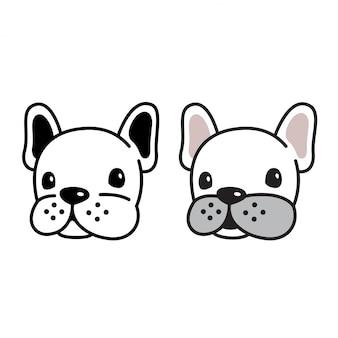 Personaggio dei cartoni animati della testa del bulldog francese di vettore del cane