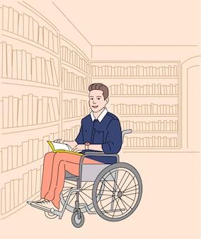 Personaggio dei cartoni animati dello studente disabile con il libro sulla sedia a rotelle alla biblioteca universitaria, concetto degli studenti con bisogni speciali