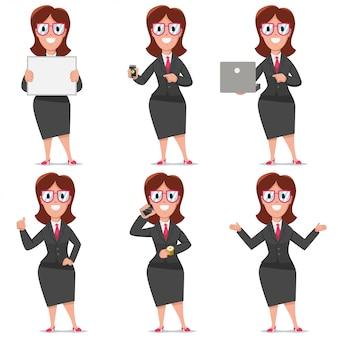 Personaggio dei cartoni animati di affari di impiegato donna. progettazione stabilita di vettore della gente piana nelle pose di presentazione isolata