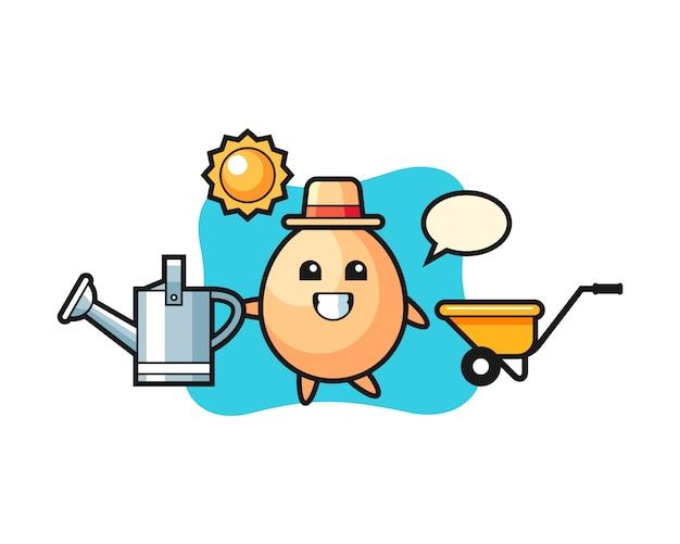 Personaggio dei cartoni animati di annaffiatoio che tiene uovo, stile carino per t-shirt, adesivo, elemento logo