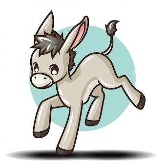Personaggio dei cartoni animati di asino carino., concetto di carattere animale.