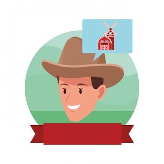 Personaggio dei cartoni animati di avatar uomo viso