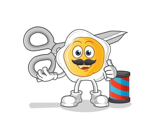 Personaggio dei cartoni animati di barbiere uovo fritto