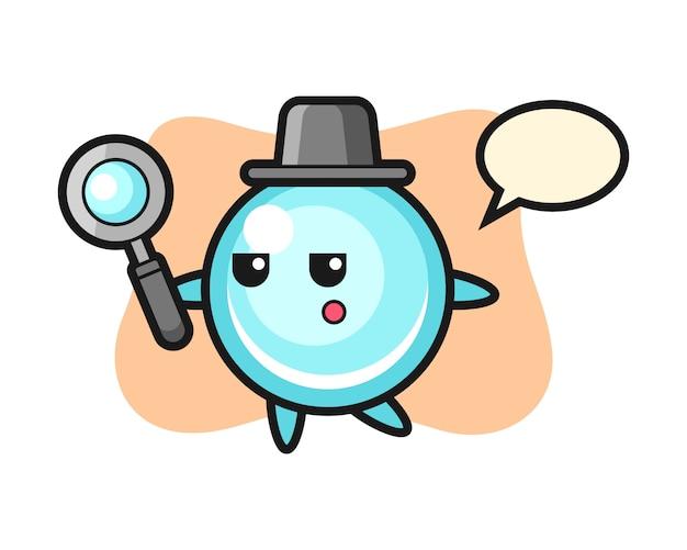 Personaggio dei cartoni animati di bolla che cerca con una lente d'ingrandimento, design in stile carino