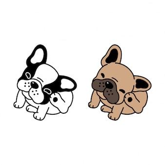 Personaggio dei cartoni animati di cane bulldog francese di vettore