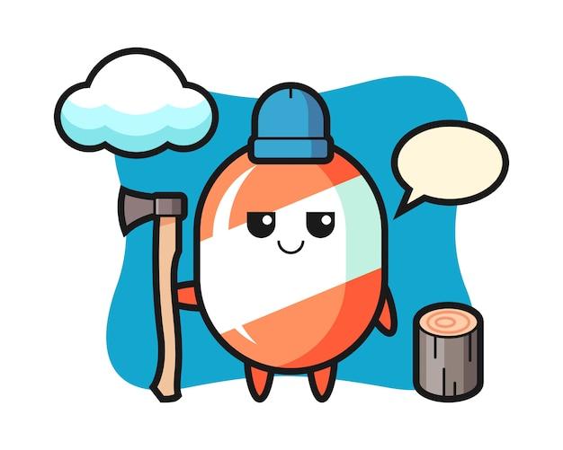 Personaggio dei cartoni animati di caramelle come un taglialegna