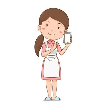 Personaggio dei cartoni animati di casalinga shopping online tramite smartphone.