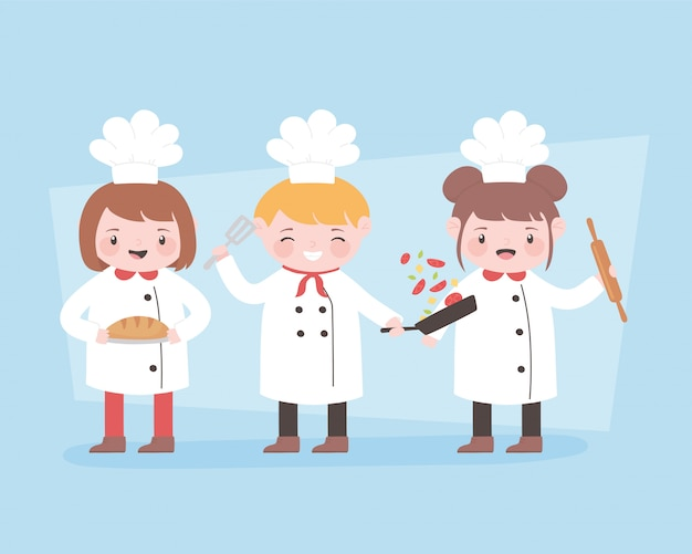 Personaggio dei cartoni animati di chef con perno di rullo e pane