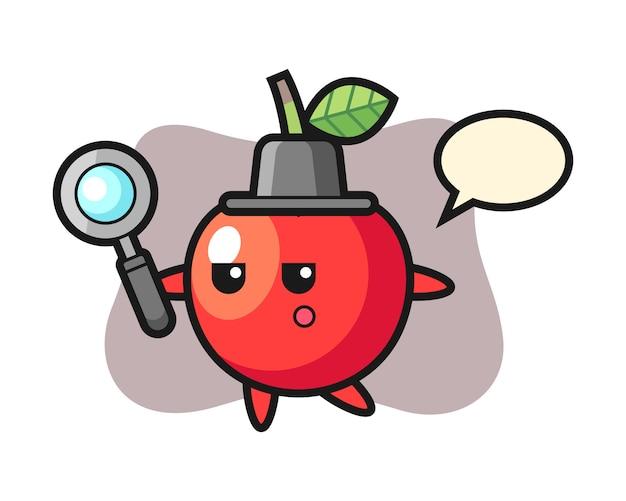 Personaggio dei cartoni animati di ciliegia che cerca con una lente d'ingrandimento, design in stile carino