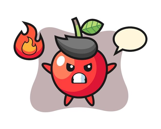 Personaggio dei cartoni animati di ciliegia con gesto arrabbiato, design in stile carino