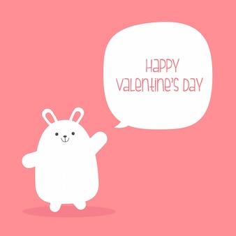 Personaggio dei cartoni animati di coniglio per la carta di invito di san valentino