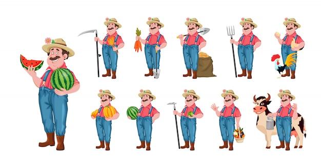 Personaggio dei cartoni animati di contadino, set di undici pose