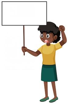 Personaggio dei cartoni animati di contestatore donna nera