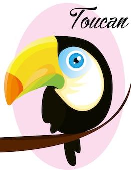 Personaggio dei cartoni animati di cute baby taucan