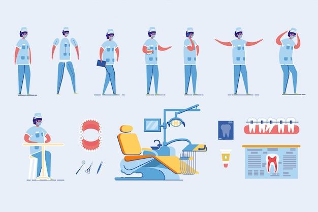 Personaggio dei cartoni animati di dentista uomo