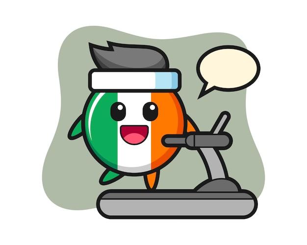Personaggio dei cartoni animati di distintivo bandiera irlanda che cammina sul tapis roulant