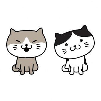 Personaggio dei cartoni animati di gatto vettore gattino sorriso