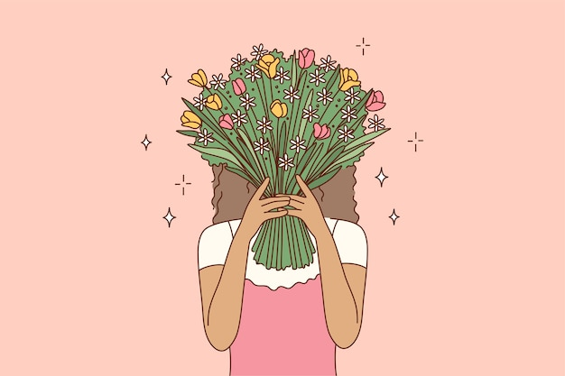 Personaggio dei cartoni animati di giovane donna afro-americana ragazza che copre il viso che si nasconde dietro il mazzo di fiori.