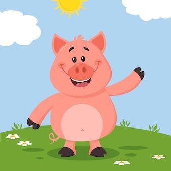 Personaggio dei cartoni animati di maiale agitando per saluto
