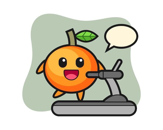 Personaggio dei cartoni animati di mandarino arancione che cammina sul tapis roulant, stile carino, adesivo, elemento del logo
