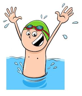 Personaggio dei cartoni animati di nuoto in acqua