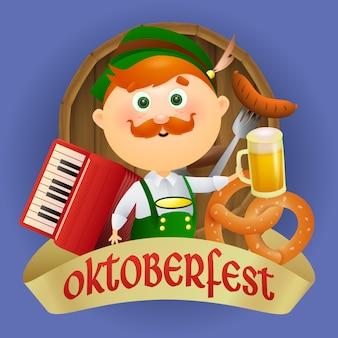 Personaggio dei cartoni animati di oktoberfest in costume tradizionale