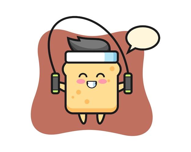 Personaggio dei cartoni animati di pane con la corda per saltare