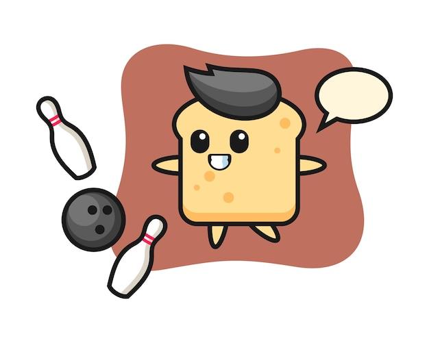 Personaggio dei cartoni animati di pane sta giocando a bowling