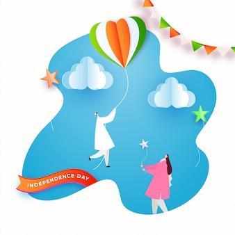 Personaggio dei cartoni animati di persone che celebrano idian happy independence