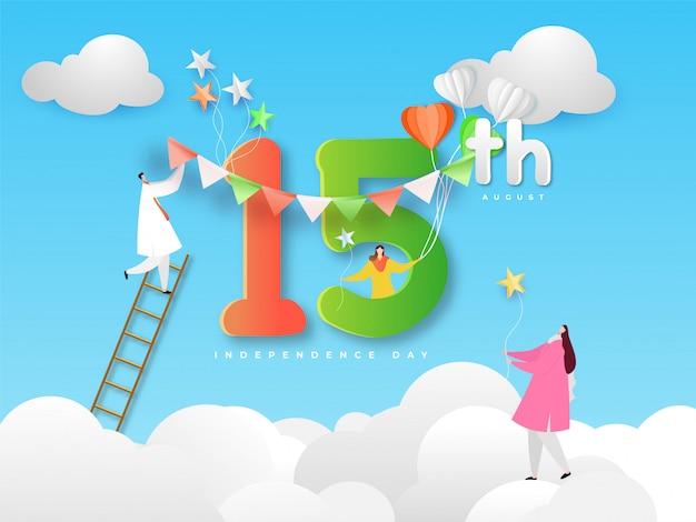 Personaggio dei cartoni animati di persone che celebrano la bandiera di idian happy independence