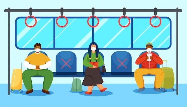 Personaggio dei cartoni animati di persone che indossano maschere mediche che viaggiano in treno mantenendo la distanza sociale per prevenire il coronavirus.