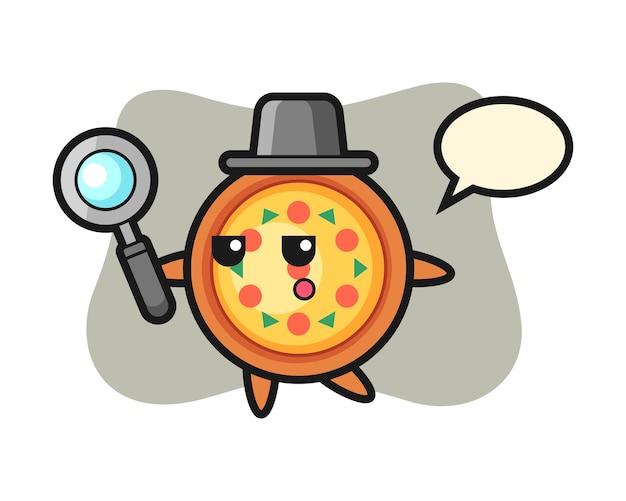 Personaggio dei cartoni animati di pizza alla ricerca con una lente di ingrandimento