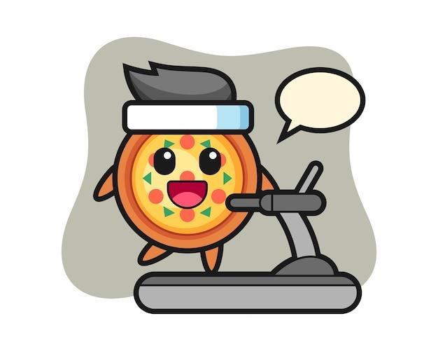 Personaggio dei cartoni animati di pizza che cammina sul tapis roulant